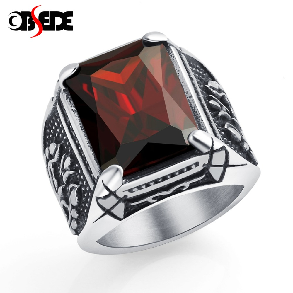 OBSEDE Vintage CZ Stone Men's Rings Punk Style 316L Stainless Steel Ring for Men Jewelry High Quality Men's Ring With Crystal цена
