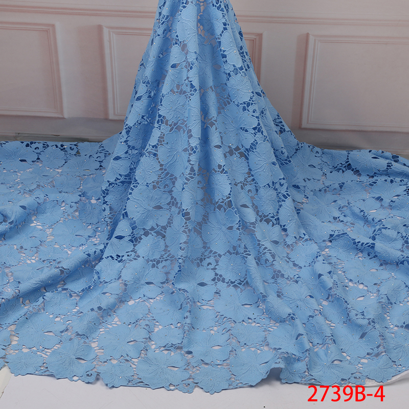 2019 Latest French Lace Fabric, High Quality African Guipure Lace Fabric,Nigerian Cord Laces With Stones KS2739B-4