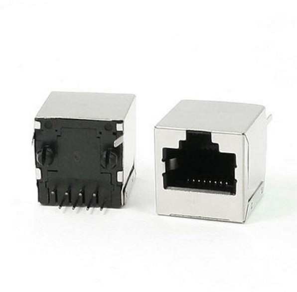 50 Pcs Vertical Mounting 8Pin <font><b>RJ45</b></font> PCB <font><b>Jack</b></font> Female Connector image