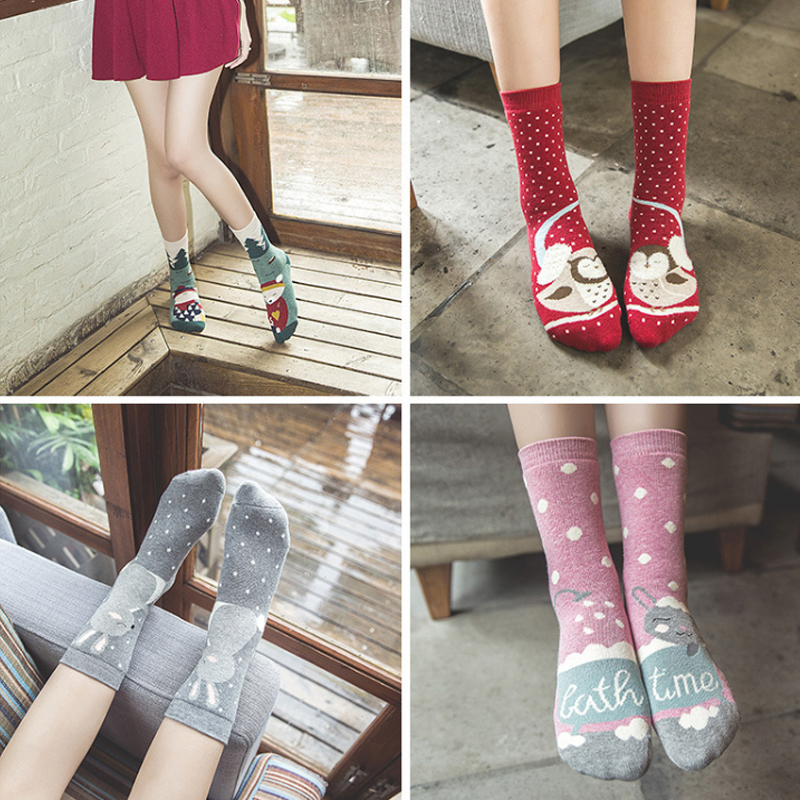 2018 cute cotton cartoon animal socks women thick warm print funny christmas socks winter autumn spring kawaii meias calcetines
