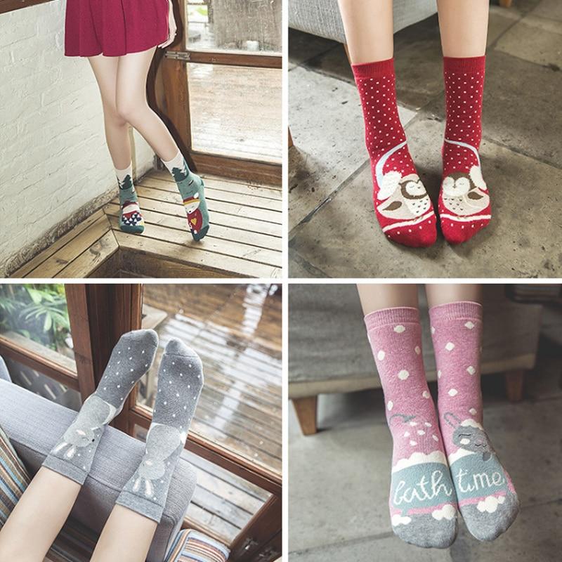 2018 cute cotton cartoon animal socks women thick warm print funny christmas socks winter autumn spring kawaii meias calcetines - Funny Christmas Socks