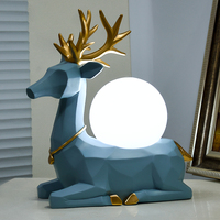 Abstract Blue Deer Statue Resin Table Lamps Bedroom Living Room Led Night Light Home Decor Geometric Resin Lights Creative Gifts