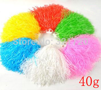 40g plastic PE cheerleading pompoms (10 pieceslot) Cheerleader pom poms Color and handle can choose Free shipping