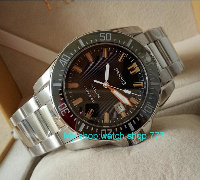 PARNIS 43mm Japonais Automatique Auto-Vent mouvement de montre verre de saphir montres Mécaniques Hommes de montres 381bzd