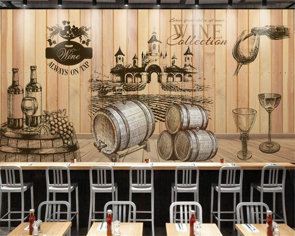 Beibehang Home Decorative Wallpaper Vintage Hand Painted Wine Cellar Wooden Background photo wall mural 3D wallpaper behang-in Wallpapers from Home ... & Beibehang Home Decorative Wallpaper Vintage Hand Painted Wine Cellar ...
