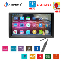 AMPrime Android Car Radio 2Double Din Autoradio GPS Bluetooth Navigation Wifi Multimedia Car Player HD Universal Stereo MP4 MP5
