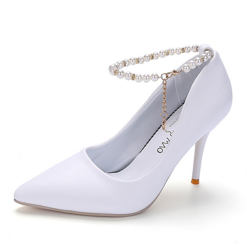 Women High Heel Shoes Basic Model Pumps Pointed Toe PU Leather Ladies Wedding Shoes White Black Pink Pearls Ankle Strap Shoes pu pointed toe flats with eyelet strap