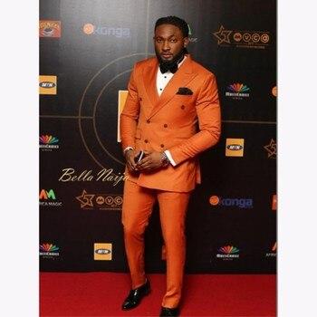 Eleganckie pomarańczowe podwójne piersi mężczyzn garnitur 2020 niestandardowe smokingi ślubne Groom garnitury dla mężczyzn biznes mężczyźni odzież biurowa (kurtka + spodnie)