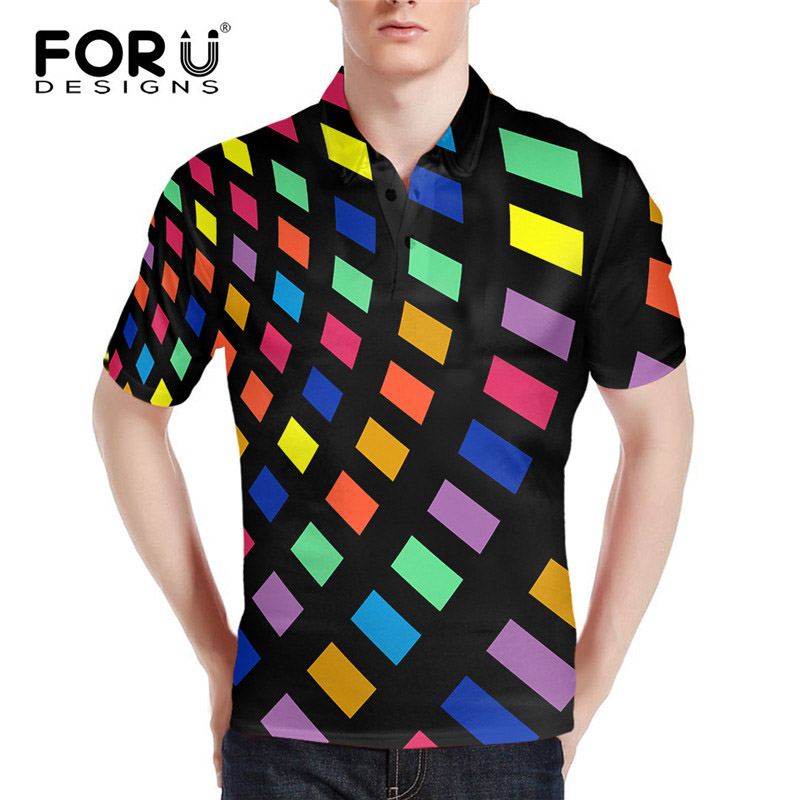 FORUDESIGNS 2018 New Fashion Color Grid Printing   Polo   Shirt for Men Casual Male Tops Shirts Summer Loose Plus Size Camisa Homme