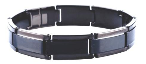 Gift for Men Brushed Tungsten Carbide Beveled Black Plating with Germanium Magnetic Bracelets /TUBR1005