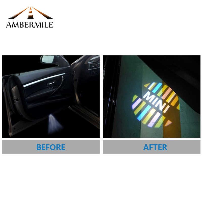 AMBERMILE 2 шт. светодиодный Автомобильный Дверной теневой Световой Лазерный проектор логотип приветственные огни для Mini Cooper аксессуары для земляков стайлинга автомобилей