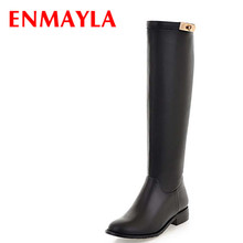 ENMAYER Knight Boots For Women Big Size34-43 Round Toe Low Buckle Knee-High black Brown Soft Leather Winter platform Shoes