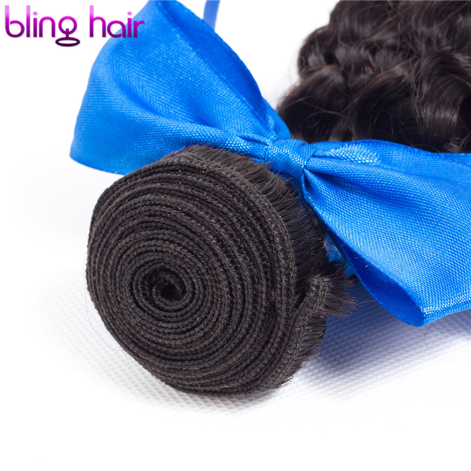 Image 4 - Bling Hair Kinky Curly 3 Bundles with Closure 100% Remy Human Hair Extension Brazilian Hair Weave Bundles with 4*4 Lace Closure-in 3/4 Bundles with Closure from Hair Extensions & Wigs