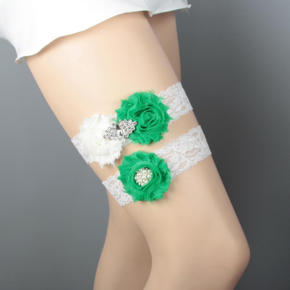Дизайн кружевная отделка потертый цветок Свадебная подвязка для свадьбы подвязка для невесты синий потертый цветок ручной работы - Цвет: Ivory and green