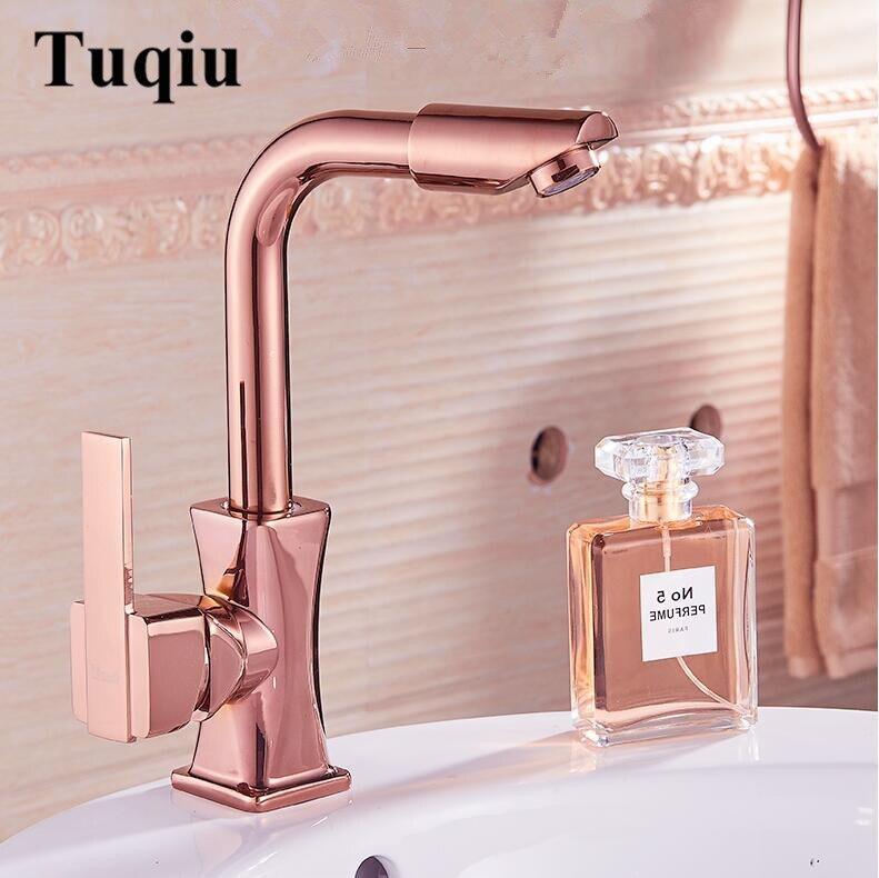 Robinets de lavabo or Rose/or/Chrome robinets d'évier de salle de bains mitigeur de lavage à chaud et à froid robinet d'eau WC robinet Torneira Banheiro