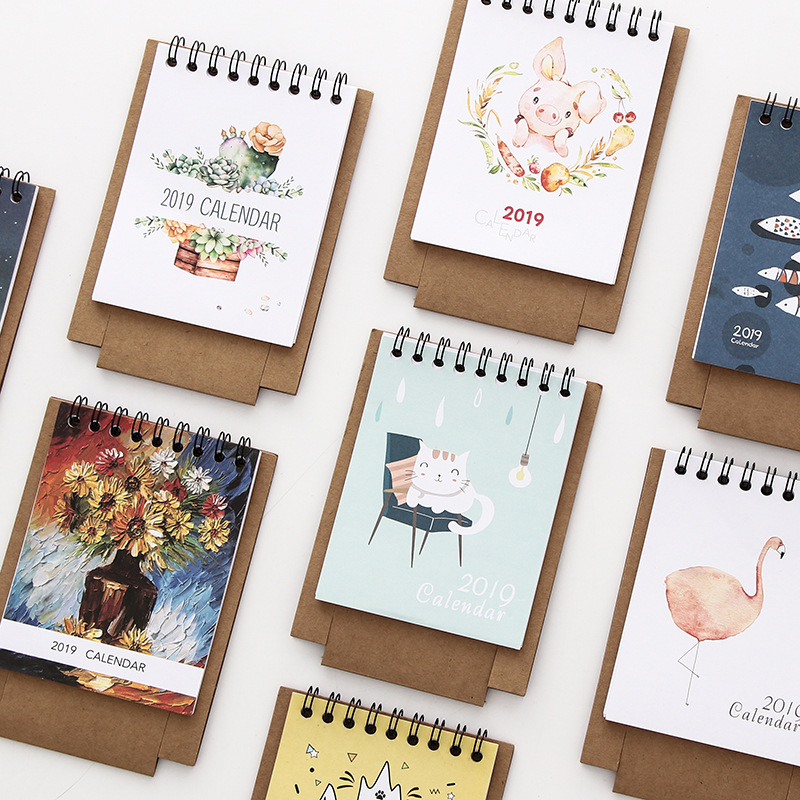 2019 Plan Gifts Home Paper Decoration Vertical Multifunction Office Notebook Timetable Kawaii Cartoon Desk Calendar Non-Ironing Calendar