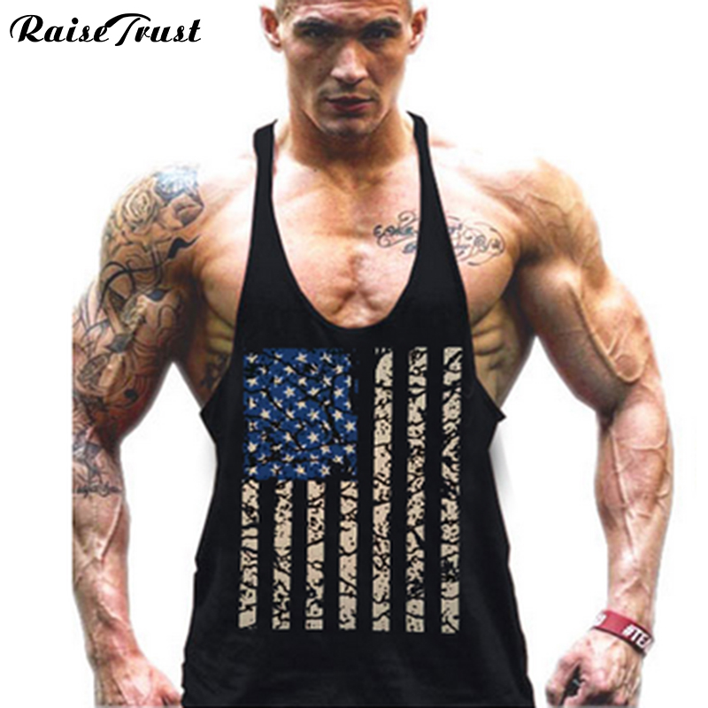 Hot Sale Men's American Flag Design Stringer Singlets Cotton Gyms   Tank     Tops   Muscular Fitness Bodybuilding   Tank     Top   Skull Vest