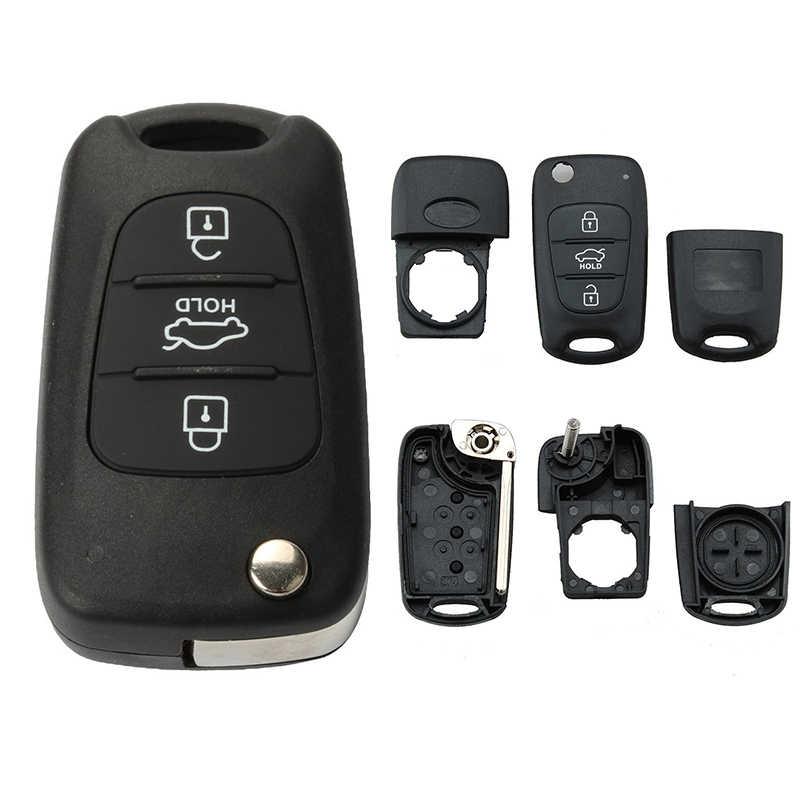 HLEST obudowa kluczyka samochodowego wymiana 3 przyciski dla Kia Rio Picanto Sportage Soul Rondo obudowa pilota z chowanym kluczem osłona gorąca sprzedaży