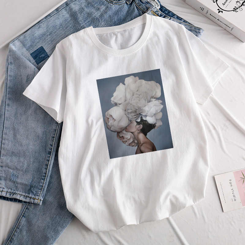Aesthetics Sexy Flowers Feather Print Harajuku Tops Tees New Summer Fashion Retro kawaii Casual Sweet Lady Short-Sleeve T-Shirt