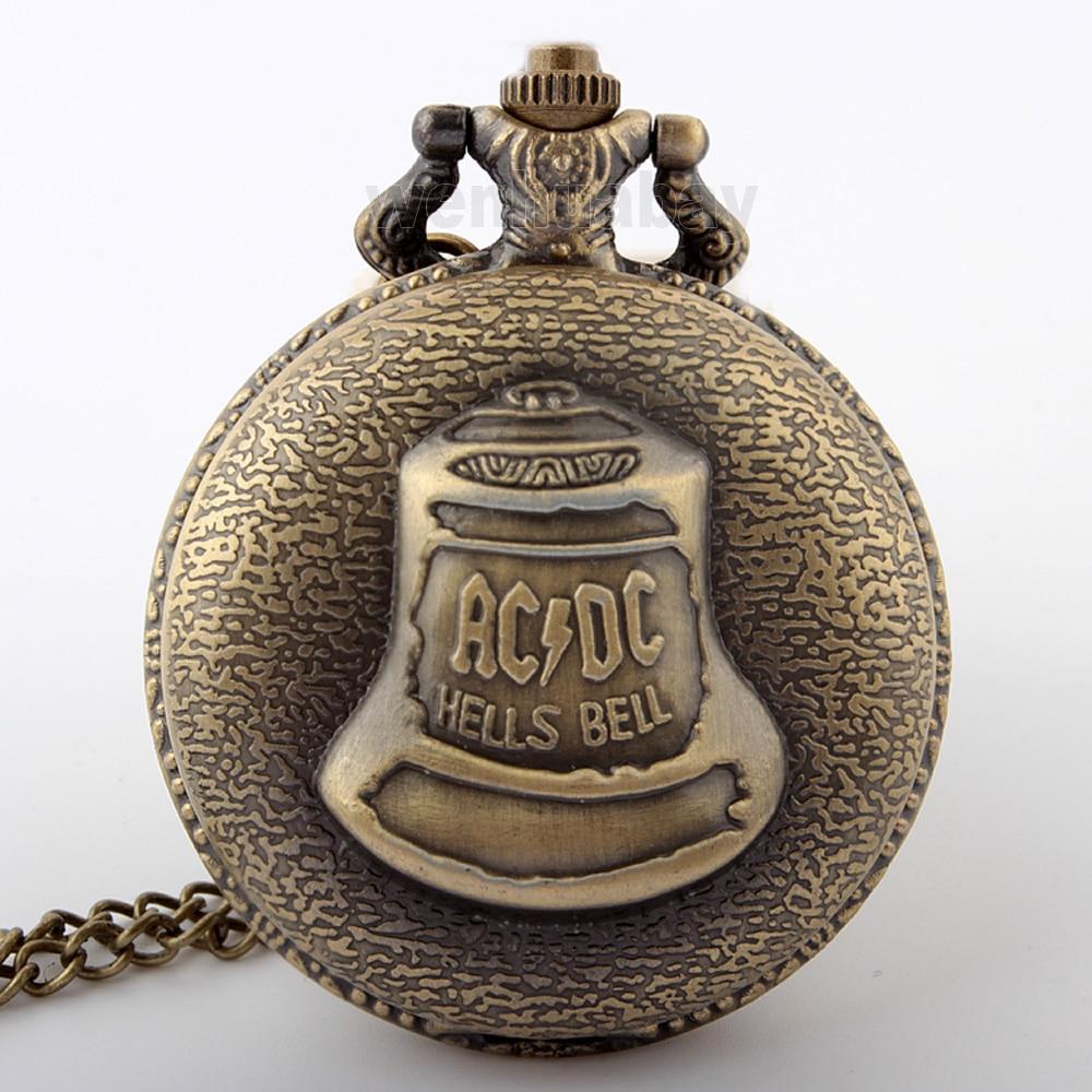 HotAntique Steampunk Bronze AC DC Hells Bell Pattern Pocket Watch With Pendant Chain Flower Craving Back Watch Men Gift P290