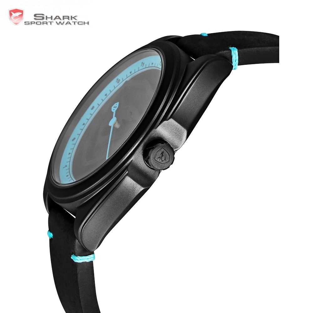 177fb402c ... New Collared Carpet Shark Sport Watch 3D Blue Dial Unique One Hour Hand  Design Leather Band ...