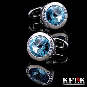 Kflk jóias camisa amall cufflink para unisex marca azul cristal manguito link botão de alta qualidade luxo casamento noivo convidados