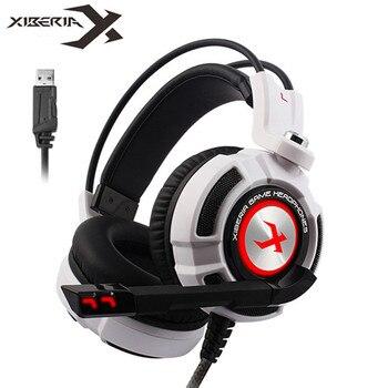 Xiberia K3/K5/k9/K10 Over-Ear PC Gamer игры usb-гарнитура 7,1 Virtual Surround Sound стерео Бас Pro Игровые наушники с микрофоном светодиодный