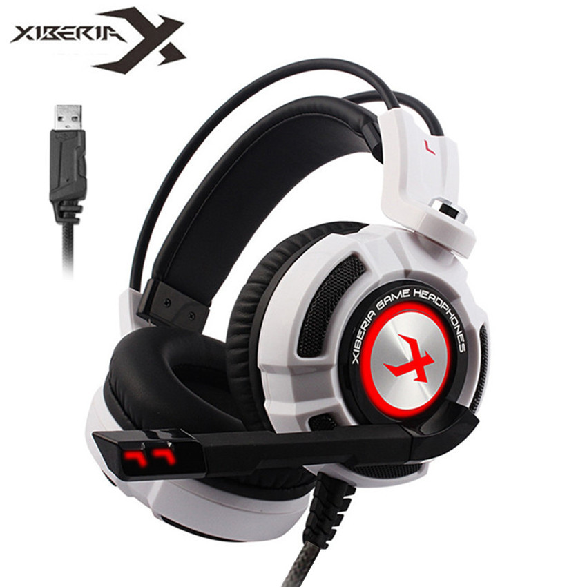 Xiberia K3/K5/k9/K10 sobre la oreja de PC Gamer juego de auriculares USB 7,1 Sonido Envolvente Virtual estéreo Bass Pro juego de auriculares con micrófono LED