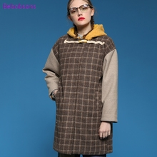 Winter New Women Hooded Wool Blends Coats Vintage Plaid Prin