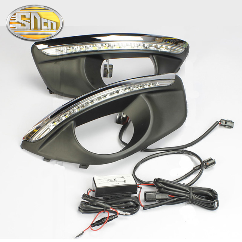 SNCN LED Daytime Running Light For Hyundai Santa Fe 2010 2011 2012,Car Accessories Waterproof ABS 12V DRL Fog Lamp Decoration hot sale led daytime running light for octavia a5 2010 2011 2012 2013 led drl fog lamp cover accessories