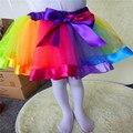 Niños Colorido Encantador de la Falda de Las Muchachas Del Bebé Del Arco Iris Los Niños Fiesta de Cumpleaños del vestido de Bola de Tulle Mini Vestido LMY601