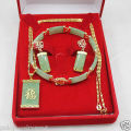 Jewelry Beautiful Light green jade NEW pendant bracelet earring set AAA style 100% Natural jade Noble Fine jewe