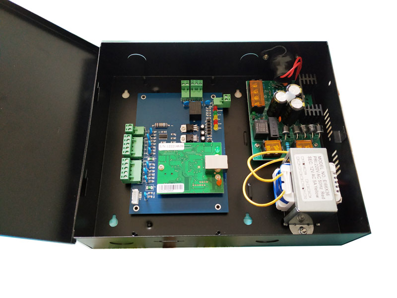 TCP one Door Access Control Board and Metal Power Supply Box For Access Control System Wiegand Access Control Panel sn:L01_set