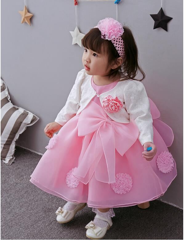 Baby Girl's Pageant Suits 2017 Summer Flower Bow Christening Dress+Headband+Coat Infant 3PCS Sets Kids Birthday Formal Outfits baby girl summer clothing sets 2nd birthday outfits character tutu dress headband dot legging shoes 1st birthday infant clothes