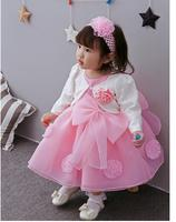 Baby Girl S Pageant Suits 2017 Summer Flower Bow Christening Dress Headband Coat Infant 3PCS Sets