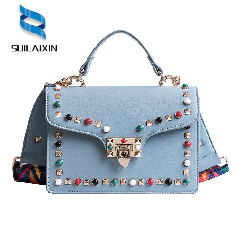Women Brand Shoulder Bag Fashion Colorful Rivet Small Black Crossbody Messenger Bags Color Straps Wide Handbags High Quality