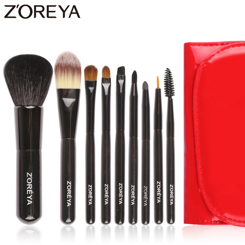 Zoreya Brand 9pcs/set red color Natural hair makeup brushes for women Cosmetic tool powder brush foundation brushes set facial mask brush woman cosmetic tool makeup foundation brush fiber hair bamboo handle powder concealer face mask brushes set