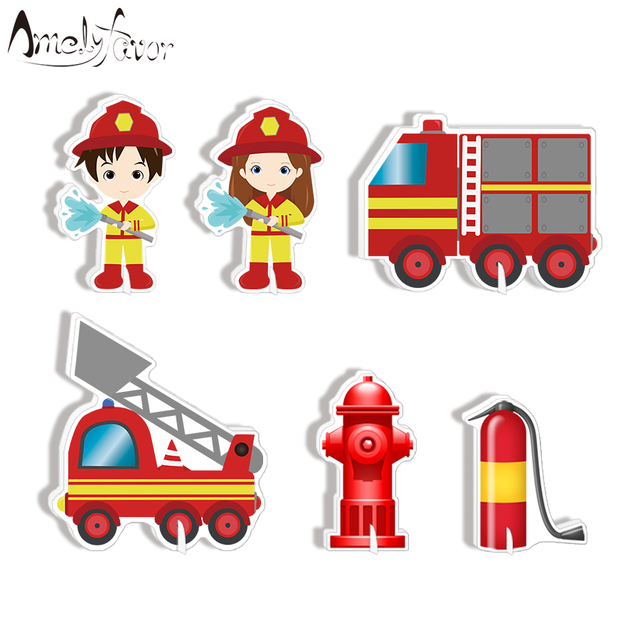 Firefighter Party Decoration Fire Truck Table Centerpiece Kids Birthday Supplies Decorations Decor