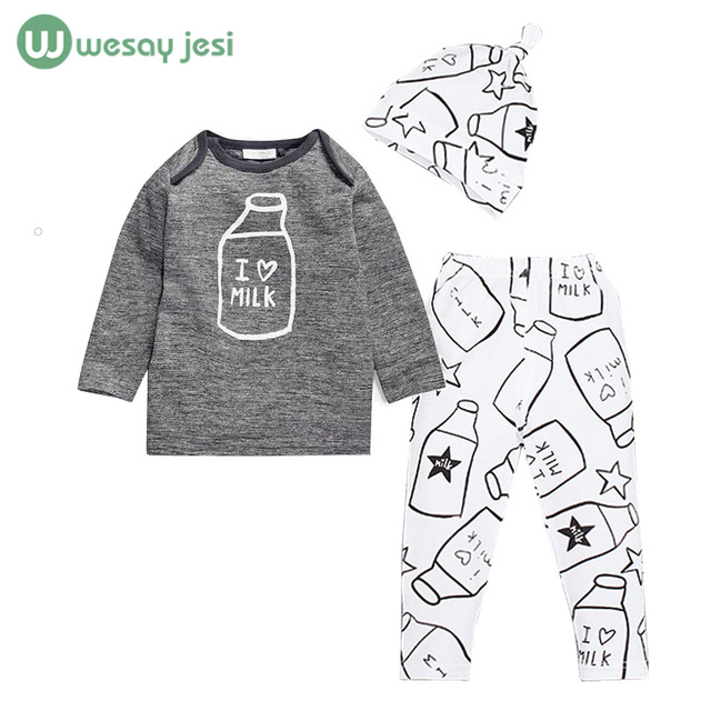 Baby boy clothes Brand summer girl kids clothes sets 3pcs Long-Sleeved Romper+Hat+Pants Children Clothing newborn sport suits