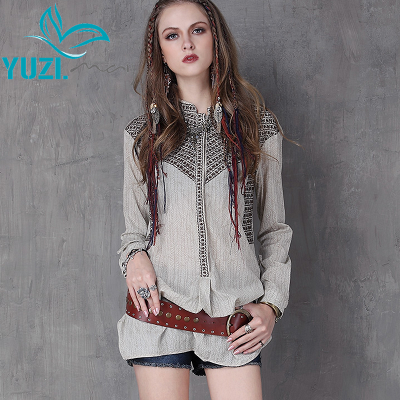 Women Blouses 2020 Yuzi Spring New Cotton Blouse Turn-down Collar Embroidery Long Sleeve Loose Blusas B9103 Blusas Femininas