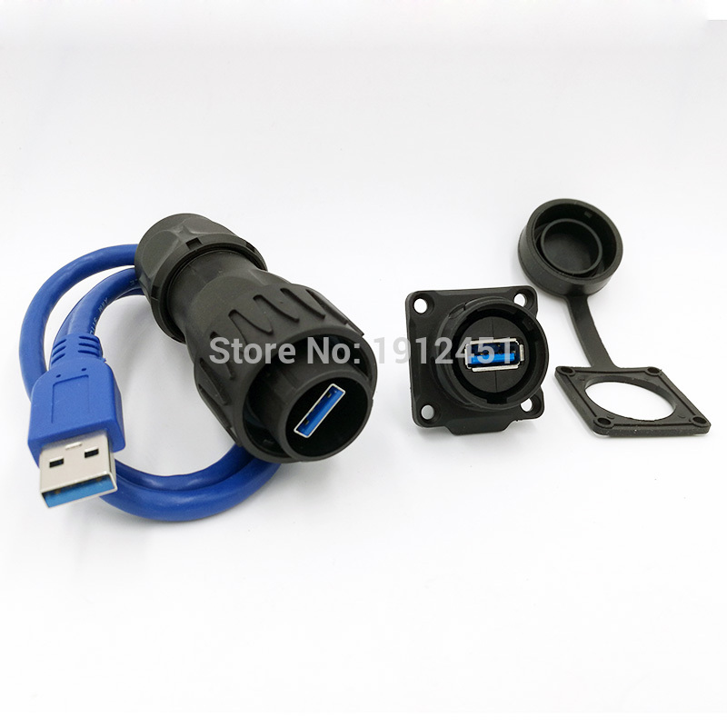 with Waterproof//Dust Cap ANMBEST USB2.0 IP67 Waterproof Cable Extension Connector Double Head Coupler Adapter Male to Female Socket Plug Panel Mount with 1m Waterproof Cable USB2.0