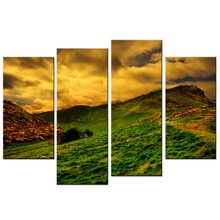 4 Pcs/Set Dusk Sunset Grassland Plains HD Wall Poster Modern Home Decorative Pictures Canvas Painting For Living Room(China)