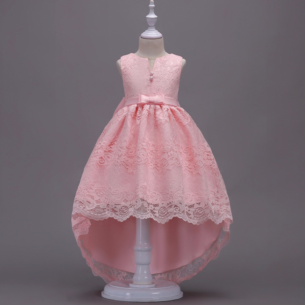 Lovely Pink Lace Little   Girl     Dresses   With Big Bow 2019 Hot Selling High Low Floor Length Cheap   Flower     Girl     Dress   In Stock