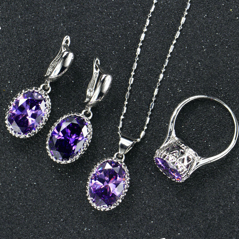 New Pattern Zircon Jewelery Sets High Quality Necklace Ring Earrings Women/Grils Luxurious Gift Party Accessories Hot Sell