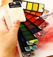 18~42Color gouache watercolor Solid Water Color Paint Set With Water Paint Brush Portable Watercolor Pigment Artist Art Supplies