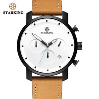 STARKING Top Brand Luxury Mens Chronograph Wrist Watch Brown Leather Watch Men Dialess Style Fashion Minimal