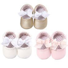 Cute Bow Newborn Baby Moccasin Shoes Soft Bottom PU Leather Toddler First Walkers