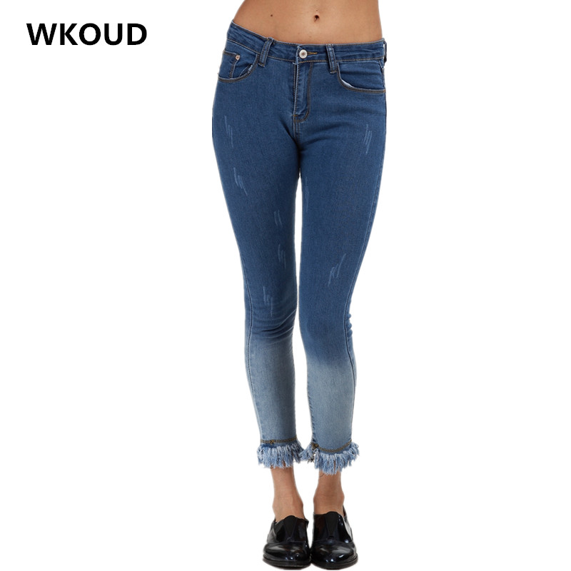 WKOUD 2017 Tassel Jeans For Women Fashion Denim Pencil Pants Mid Waist Slim Gradient Jeans Pants Casual Elastic Trousers P8035 2017 new jeans women spring pants high waist thin slim elastic waist pencil pants fashion denim trousers 3 color plus size