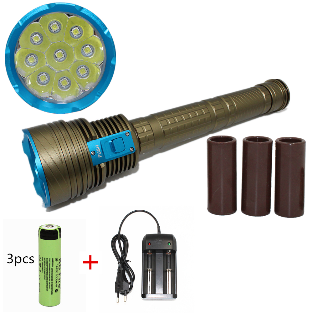 9000 Lumens Underwater diving flashlight 9 x CREE L2 LED Waterproof light XM-L2 dive torch lanterna waterproof ultraviolet diving light 3x uv led lamp diving flashlight scuba torch dive lanterna pcb 26650 battery eu charger
