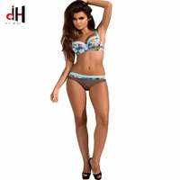DA HAI 2017 Bikini Set Female Strapless Bathing Suit Print Floral Brazilian Swimwear Backless Push Up
